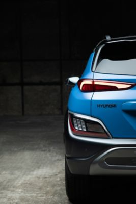 Rear view of the new Hyundai Kona Hybrid compact SUV with its sleek new tail lamps.