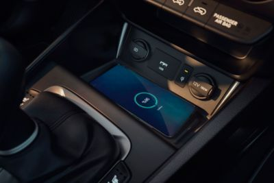 The conveniently located wireless charging pad in the centre console of the new Hyundai Kona Hybrid.