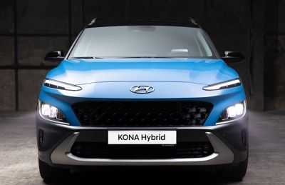 Front view of the new Hyundai Kona Hybrid compact SUV with its robust skid plate.